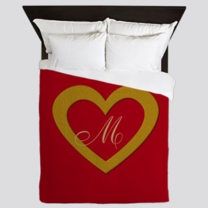 Cute Gold Red Sweet Heart Queen Duvet