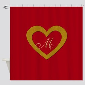 Cute Gold Red Sweet Heart Shower Curtain
