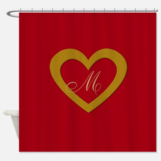 Cute Gold Red Sweet Heart Shower Curtain