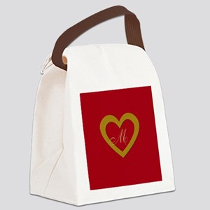 Cute Gold Red Sweet Heart Canvas Lunch Bag