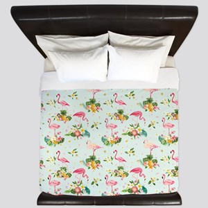 Retro Flamingos & Tropical Plants P King Duvet