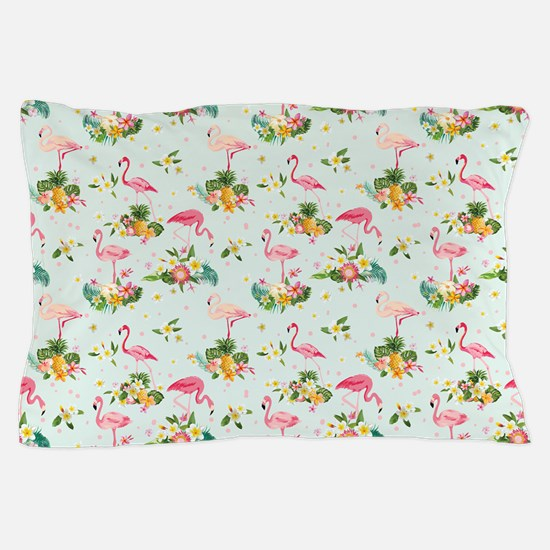 Retro Flamingos & Tropical Plants Pillow Case