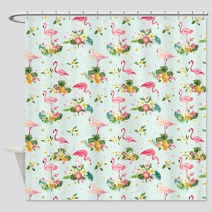 Retro Flamingos & Tropical Plan Shower Curtain