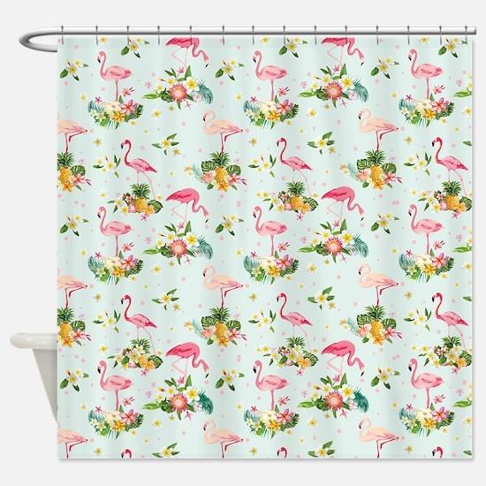 Retro Flamingos & Tropical Plan Shower Curtain