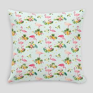 Retro Flamingos & Tropical Pla Everyday Pillow