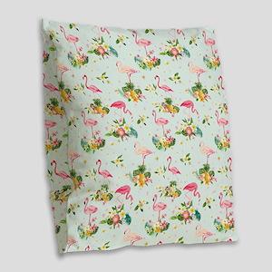 Retro Flamingos & Tropical Burlap Throw Pillow