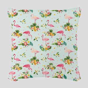 Retro Flamingos & Tropical Woven Throw Pillow