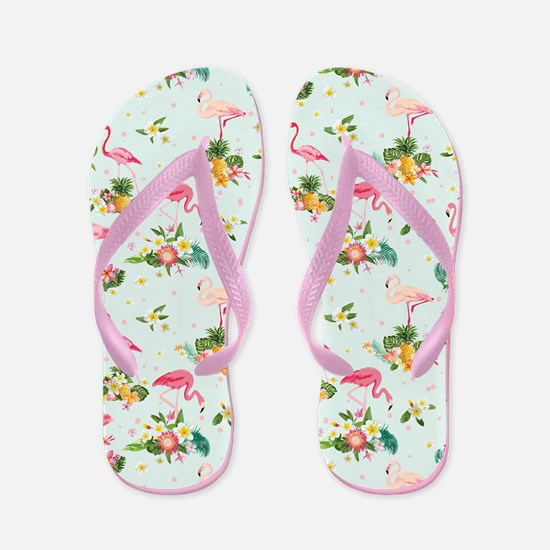 Retro Flamingos & Tropical Plants P Flip Flops