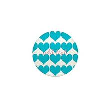 Cute Sea Blue Hearts Mini Button