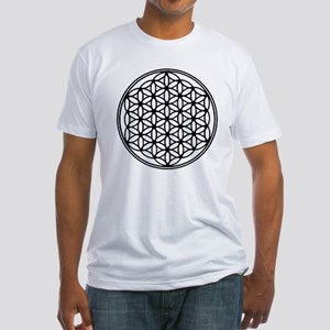 Flower of Life in Black Fitted T-Shirt
