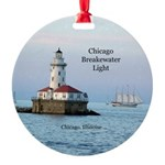 Chicago Breakwater Light And Windy Round Ornament
