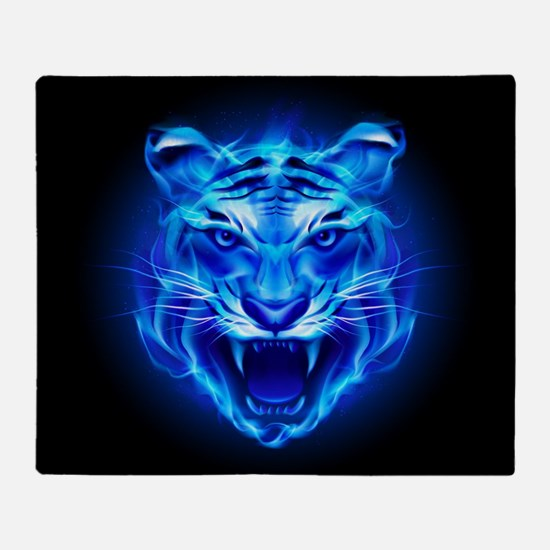 Blue Fire Tiger Face Throw Blanket