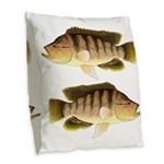 Thinface Cichlid Burlap Throw Pillow