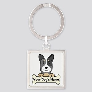 Personalized Cattle Dog Square Keychain