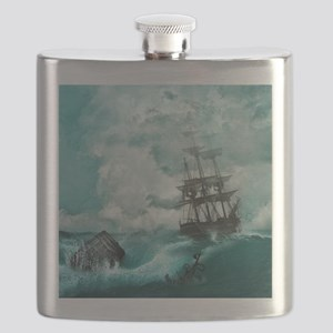 Storm Sea Ship Shipwreck Ocean Blue Flask