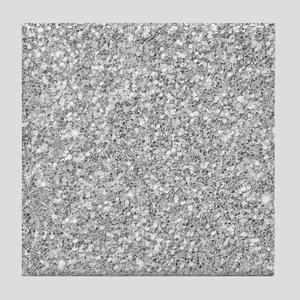 Silver Gray Glitter Texture Tile Coaster
