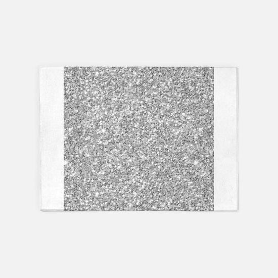 Silver Gray Glitter Texture 5'x7'Area Rug