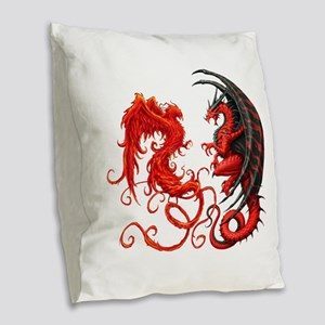 Can The Dragon Beat The Phoeni Burlap Throw Pillow