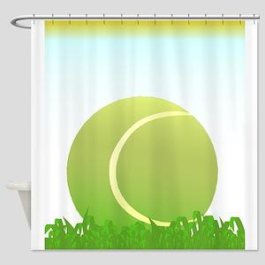 Tennis Ball On Grass Shower Curtain