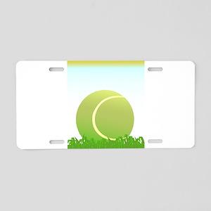 Tennis Ball On Grass Aluminum License Plate