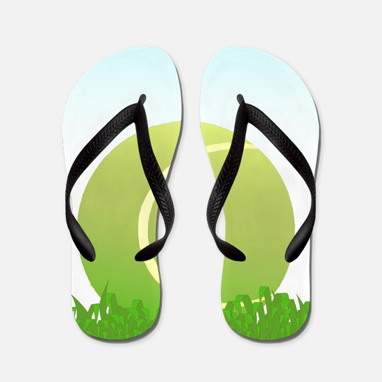 Tennis Ball On Grass Flip Flops