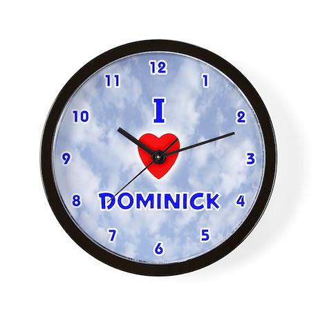I Love Dominick (Blue) Valentine Wall Clock
