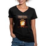 Be Careful Women's V-Neck Dark T-Shirt
