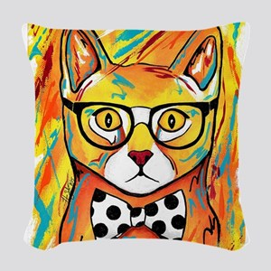 Cat with Bow Tie Woven Throw Pillow
