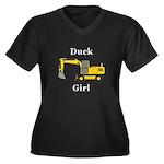 Duck Girl Women's Plus Size V-Neck Dark T-Shirt