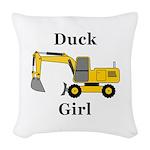 Duck Girl Woven Throw Pillow