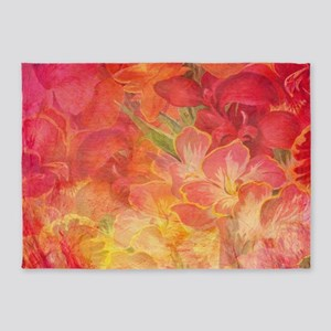 Floral Pink Flowers Vintage Pattern 5'x7'Area Rug