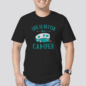 Life's Better Camper Men's Fitted T-Shirt (dark)