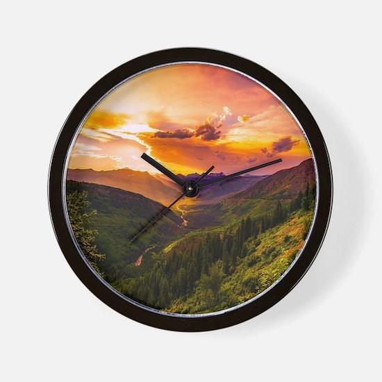 Beautiful Sunset Mountains Valley Lands Wall Clock