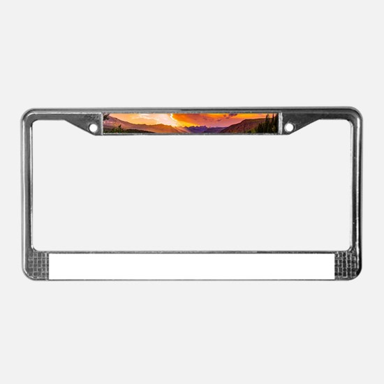 Beautiful Sunset Mountains Val License Plate Frame