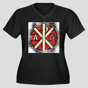 Alpha Omega Stained Glass Plus Size T-Shirt