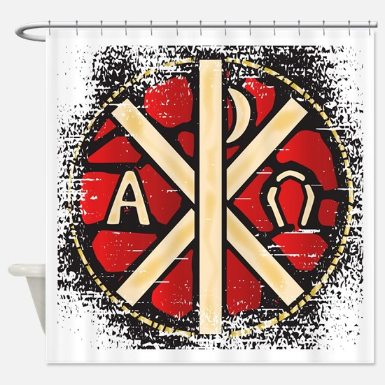 Alpha Omega Stained Glass Shower Curtain