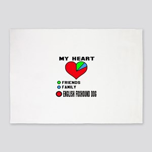 My Heart, Friends, Family, English 5'x7'Area Rug