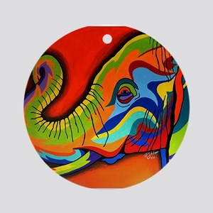 Colorful Elephant Round Ornament