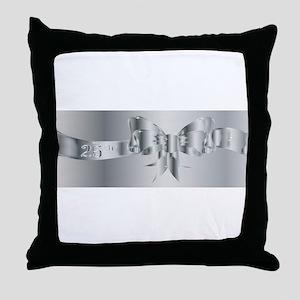 25th Silver Ribbon Throw Pillow