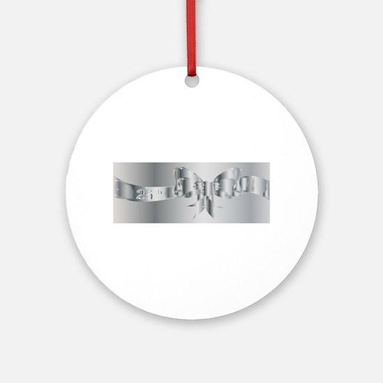 25th Silver Ribbon Round Ornament