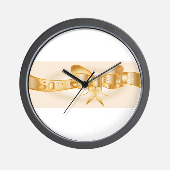 50th Golden Ribbon Wall Clock