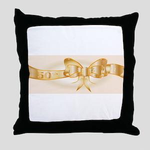 50th Golden Ribbon Throw Pillow