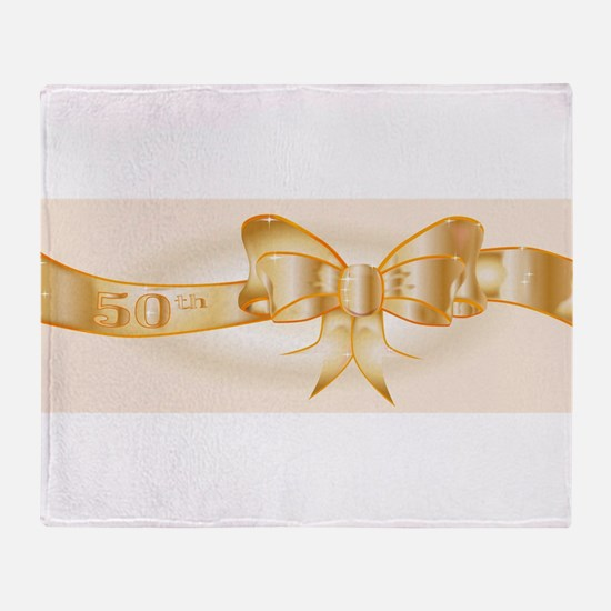 50th Golden Ribbon Throw Blanket