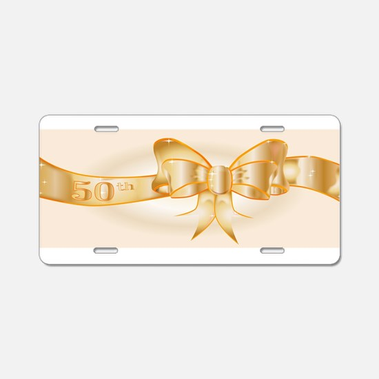 50th Golden Ribbon Aluminum License Plate