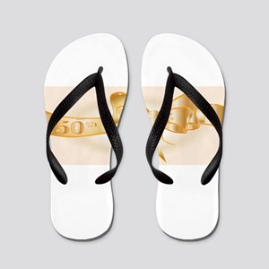 50th Golden Ribbon Flip Flops