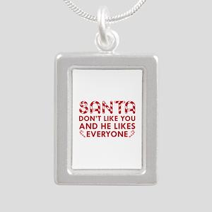 Santa Don't Like You Silver Portrait Necklace