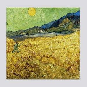 Wheat Fields with Reaper at Sunrise - Tile Coaster