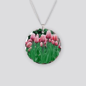 Spring Tulips Necklace Circle Charm