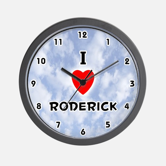 I Love Roderick (Black) Valentine Wall Clock
