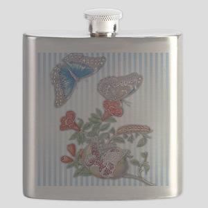 Blue Morpho Butterfly On Pomegranate Flask